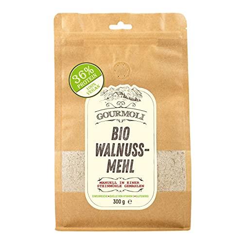 Bio Walnussmehl Nativ Aus Entölten Walnusskernen, Proteine 36%, Manuell Steingemahlen, 100% Bio-Naturprodukt, 300 g, Glutenfrei, Enthält Mineralstoffe, Aminosäuren, Proteine, Vegan