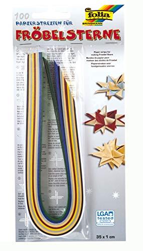 folia 1296 - Papierstreifen für Fröbelsterne Weihnachten, 100 Streifen in weihnachtlichen Farben sortiert