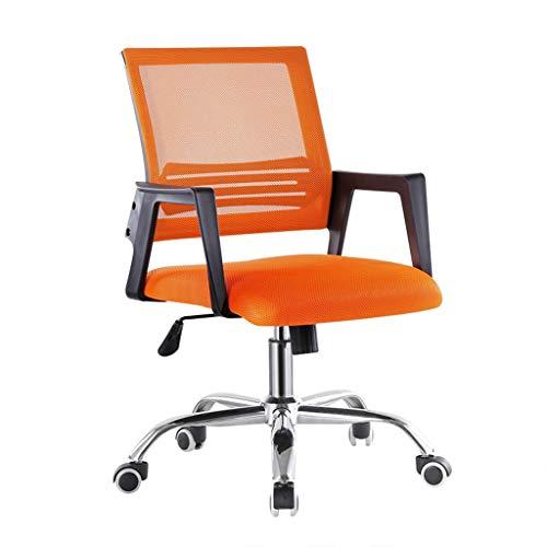 LIUDINGDING Chaise informatique Chaise de bureau Conférence de formation des ménages Chaise Fauteuil de levage Fauteuil pivotant en tissu Mesh étudiant Chaise de siège (Color : Orange)