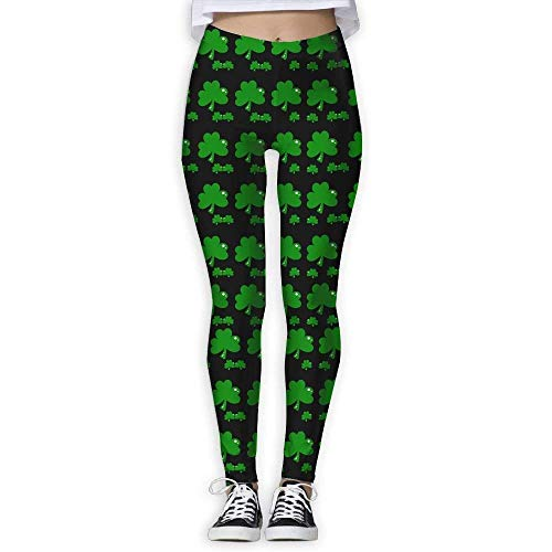 Deglogse Pantalones De Yoga, Polainas De Entrenamiento,ST Patricks Day Shamrock Clover Women's Slim Workout Full Length Yoga Pant Skinny Leggings Pants