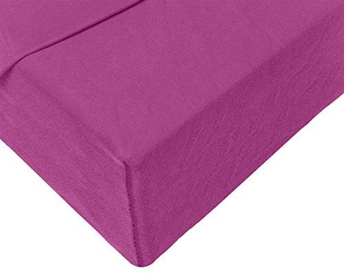 Double Jersey – Spannbettlaken 100% Baumwolle Jersey-Stretch bettlaken, Ultra Weich und Bügelfrei mit bis zu 30cm Stehghöhe, 160x200x30 Aubergine - 8