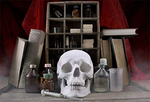 Leyiyi 6x4ft Gothic Happy Halloween Backdrop Secret Witch Lab Scientific Study Book Shelf Skull Experiment Bottles Squirt Photography Background Horror Costume Carnival Photo Studio Prop Vinyl Banner