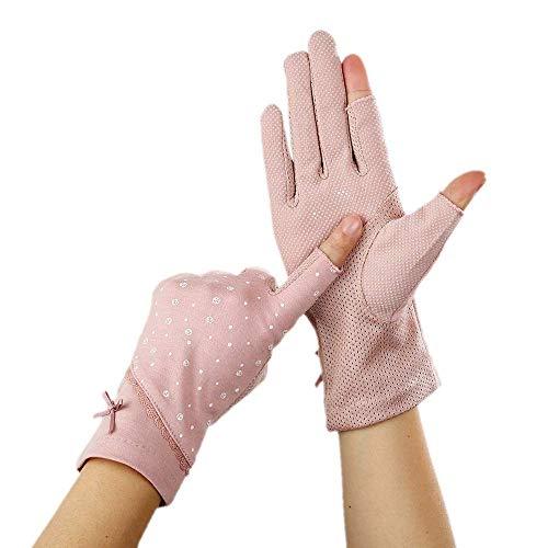 Guuisad Mujeres guantes de conducción encaje guantes sin dedos verano delgado algodón fino dedo dedo completo dedo medio dedo guantes conduciendo antideslizante UV Pantalla táctil Medio Funda Sun-Fund