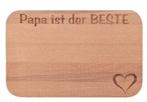 FABRIKSTORES GmbH Frühstücksbrettchen/Frühstücksbrett mit Gravur Papa ist der Beste als Geschenk - aus Holz - Geschenkidee ideal zum Geburtstag oder zu Weihnachten