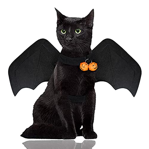 Malier Halloween Cat Dog Costume, Cool Halloween Cat Dog Bat Wings Pet Costume Decoration for Cats...