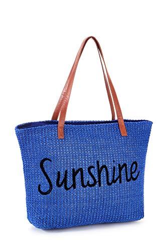 Women Beach Tote Summer Purse Handbag Utility Bag Zipper, Blue Cute Xl Large Woven Straw for Travel, Mom Female Sister Wife Girlfriend