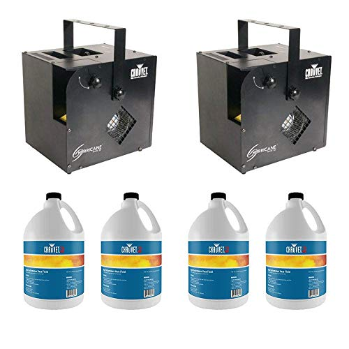 CHAUVET DJ Hurricane Haze/Smoke/Fog Machine (2 Pack) & FGH Fog Fluid (4 Pack)