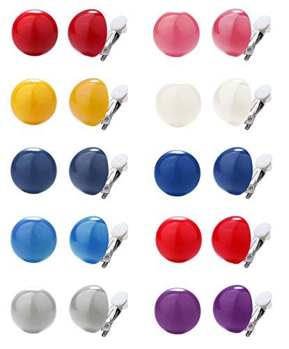 CASSIECA 6-10 Paare Clip Ohrringe Set für Damen Mädchen Ohne Ohrloch Schmuck Ohrclips aus Plastik in Vielen Farben und Pastelltönen Nette Mode Runde Knopf Clip Ohrringen Hypoallergene Ohrringe Set