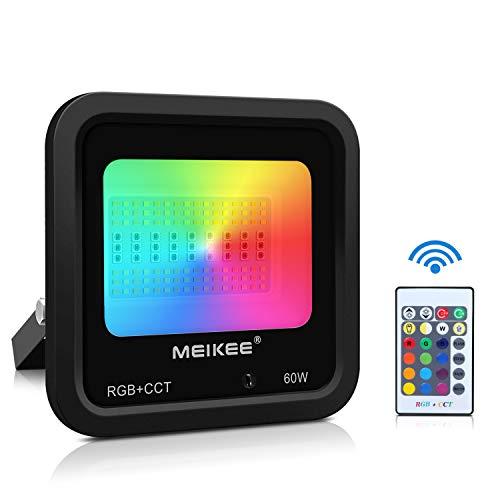 Foco de colores 60W MEIKEE Foco RGB Exterior con Control Remoto 4 Modos 16 Colores 3200 Lumens Impermeable IP66 para Jardín, Halloween, Comercial y Decoraciones Festivas