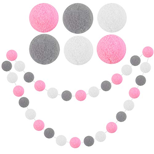 Elcoho 30 Pieces Pom Poms Felt Ball Garland 2 m Wall Colorful Felt Balls Garland Hanging Bunting Ornament for Tree Fireplace and Wall