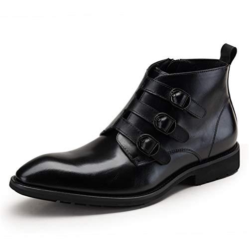 LBCD Botas Chelsea de cuero para hombre, hebilla, puntera puntiaguda, de metal, para motocicleta, botas de cuero, para hombre de negocios, 40