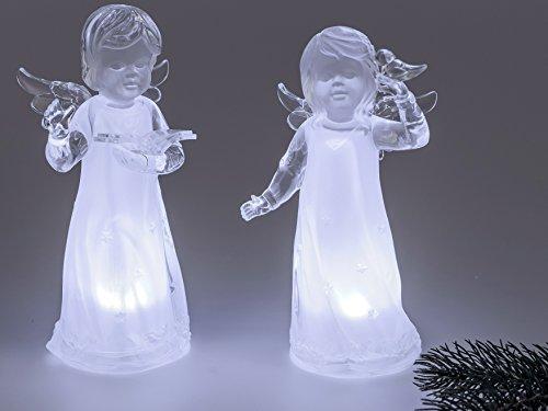 Formano Engel Figur Schutzengel-Paar 19 cm aus Acryl mit LED Beleuchtung. Weihnachtsfiguren und Winterdeko