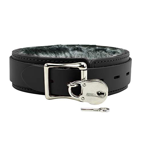 Avery V Collar Handcrafted Premium Latigo Leather Softest Chinchilla Fur Collar (Deep Black, Small)