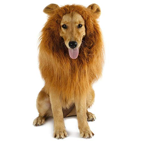 Dog Lion Mane - Halloween Realistic & Funny Lion Mane for Dogs - Complementary Lion Mane for Dog Costumes - Lion Wig for Medium to Large Sized Dogs Lion Mane Wig for Dogs
