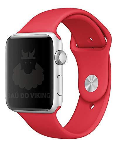 Pulseira Silicone Sport Esportiva, compatível com Apple Watch (Vermelho, 44mm Pequeno)
