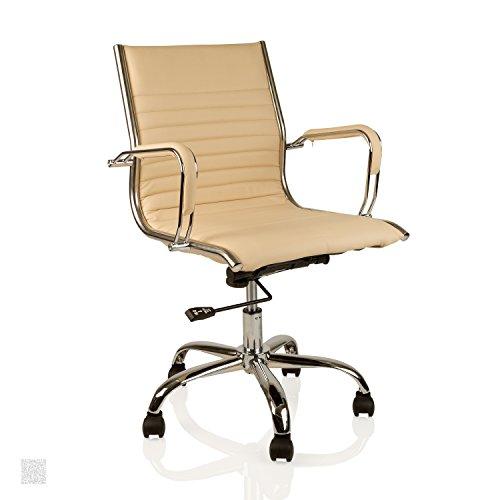 Bürostuhl Chefsessel Drehstuhl, Kunstleder, anpassbarer Wippmechanismus, Schreibtischstuhl Farbe creme + chrome