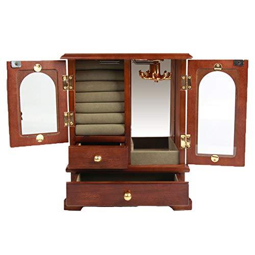 xiaohuozi High-End-Holz Schmuckkoffer Jahrgang Schmuckkästche mit Schwenkhaken Doppeltüren und Doppelschubladen Samtfutter Organisieren Sie einfach Ihren Schmuck,Mahogany
