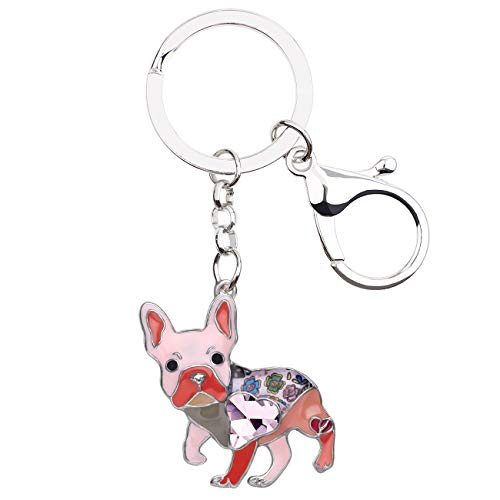BONSNY Enamel Metal Heart Rhinestone French Bulldog Key Chains For Women Kids Car Purse bag Rings Charms Pets Gift