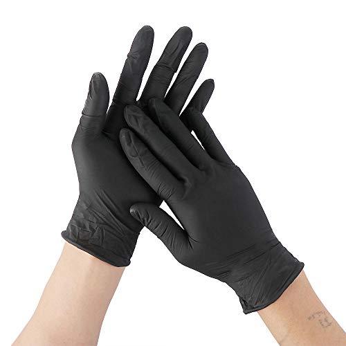 Alarmclocker8B [Punto] 1 par de Goma Suave desechable protección látex Negro maquinaria de nitrilo Limpieza de Laboratorio de Alimentos domésticos-Black_L