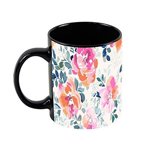 Elegante taza de café de cerámica negra con diseño de flores de acuarela de 325 ml, única taza de café y té de cerámica para regalo de Navidad para ella, regalo de amigo
