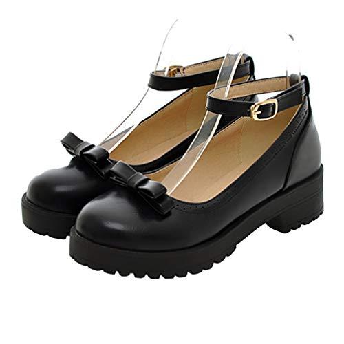 Happyyami Zapatos de Plataforma Mary Jane Zapatos de Vestir Lolita Zapatos de Uniforme de Cosplay Escolar (Talla 42: Aprox. 26. 0Cm 9Us 6. 5Uk 40. 5Eu)