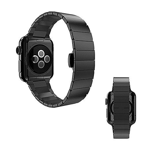 OKCS Edelstahl Butterfly Armband - für Watch 38mm Series 1, Series 2, Series 3, Edition Luxus Uhrenband Stainless Steel + Connector - Schwarz
