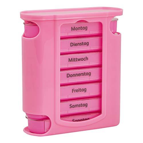 WELLGRO Tablettenbox für 7 Tage, je 4 Fächer pro Tag, 11 Farben zur Auswahl, Farbe:Rosa