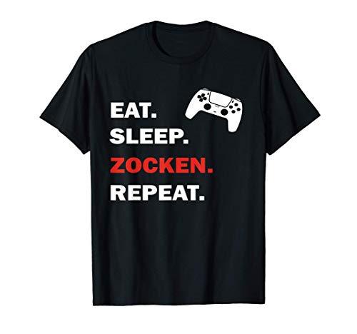 Eat Sleep Zocken Repeat Controller I PS5 Konsole Gamer T-Shirt