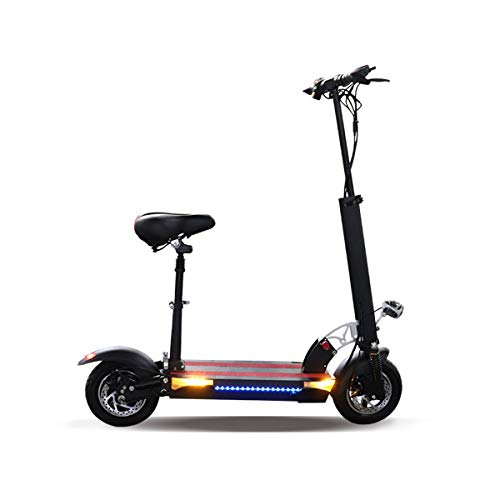 JUE SHUAI 48V 500W Black Electric Scooter for Adults Foldable with Seat, 62.5 Miles Long-Range 26AH Lithium Battery with Charger 42v, Up to 25MPH High Speed Electric Scooters