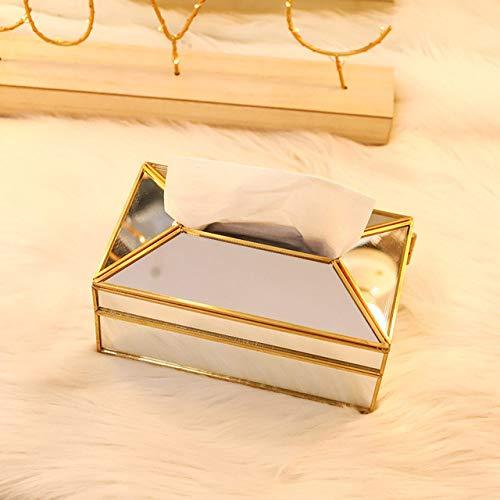 Tissue box LKU Praktische transparante spiegel glazen tissuebox papieren handdoekhouder kaptafel decoratie, spiegelend oppervlak