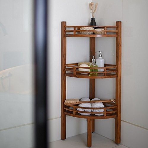 Cuarto de baño Estantería esquinera de madera de teca 107x 37x 37cm