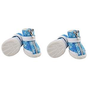 Gazechimp 4pcs Chien Chaussettes Pantoufles d'Hiver Antidérapant Imperméable Motif Flocon de Neige