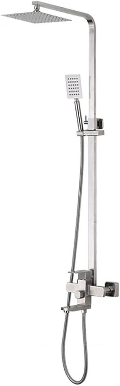 YLG Brausen- Und Duschsysteme Duschset Mit Duscharmatur Dusche Regendusche, 3 Arten Von Wasserauslassmodi, Edelstahl, Silber