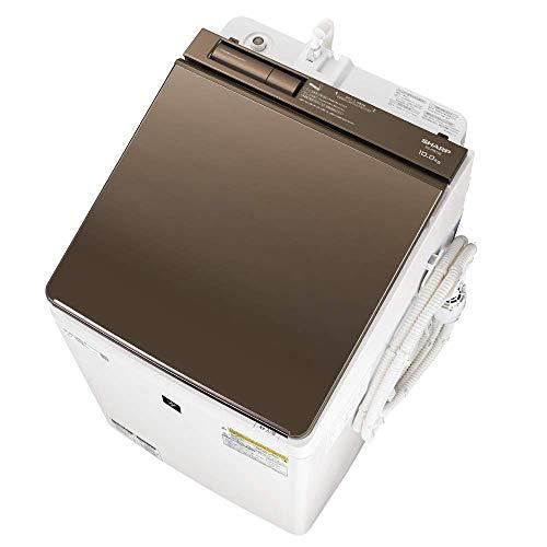 シャープ SHARP 洗濯機 洗濯乾燥機 ES-PW10E-T ガラストップ 穴なし槽 インバーター 10kg ブラウン プラズマクラスター搭載