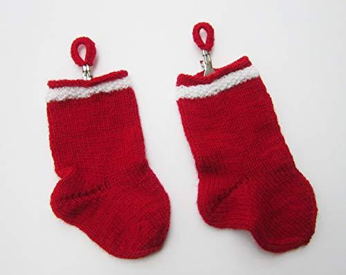 2er Set handgestrickte Söckchen für Wichtel Geschenk Adventskalender Weihnachten Nikolaus Socken rot