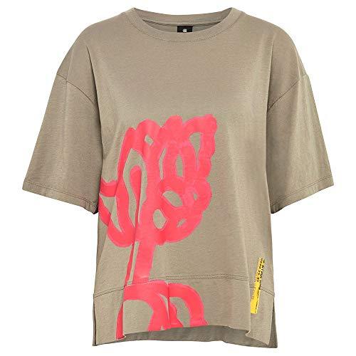 G-STAR RAW Womens Big Object Print Loose T-Shirt, Shamrock 4107-2199, L