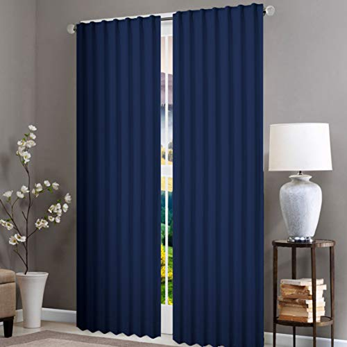 Native Fab 2 Panels 100% Cotton Washable Window Curtains for Living Room Kitchen Kids Room Bedroom 132 x 244 cm, 96 Inch Drop Curtains Navy Blue