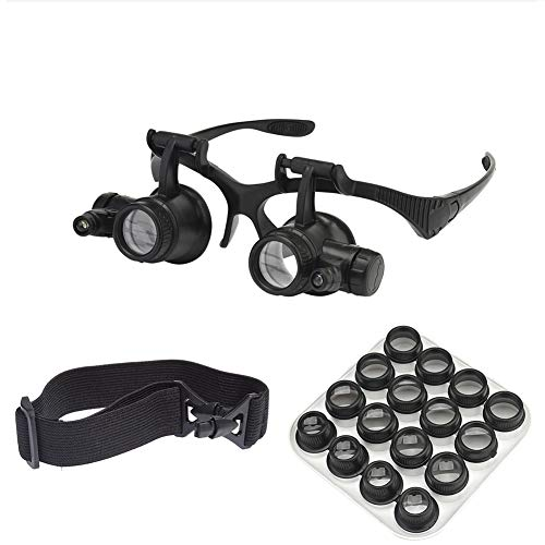 Beileshi Watch Repair Magnifier Loupe Jeweler Magnifying Glasses Tool Set with LED Light with 8 Interchangeable Lens-2.5X 4X 6X 8X 10x 15x 20x 25x