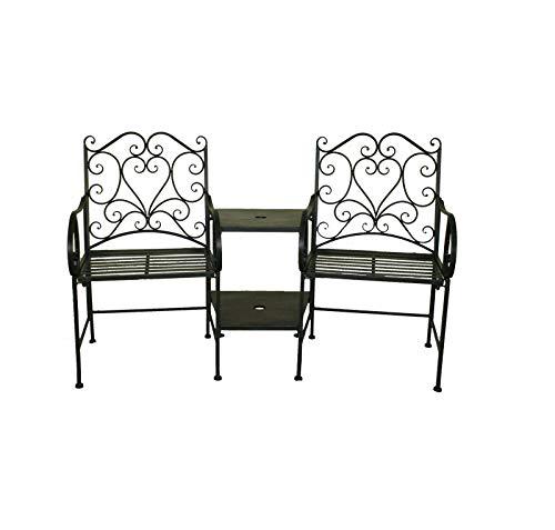 OWO Living Brooklyn Black Garden Heart-Shaped Wrought Iron Companion Seat Love Seat