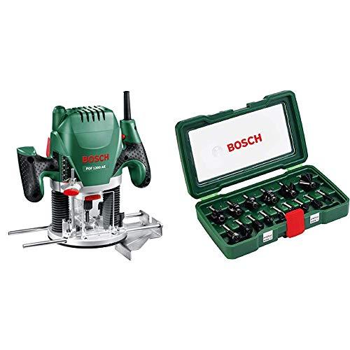Bosch POF 1200 AE Router Expert, 1200 W + Bosch 2607019469 Set Misto, 15 Frese HM, Gambo 8 mm