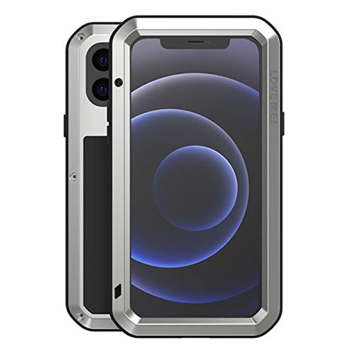 Love Mei iPhone 11 6.1' a Prueba de choques Funda, Impermeable Cover Case Metal Aluminio Cover Shockproof Military Heavy Duty Carcasa con Cristal de Gorila para iPhone 11 (iPhone 12 Mini 5.4, Plata)