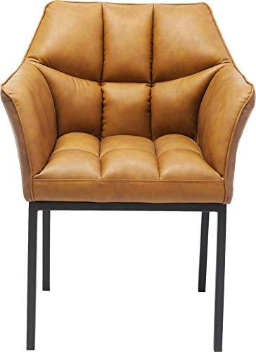 Kare Design Armlehnstuhl Thinktank, brauner Esszimmerstuhl in hochwertiger Lederoptik, bequemer Sitzkomfort durch Polsterung, Vintage Lederstuhl, (H/B/T) 85x62x58cm