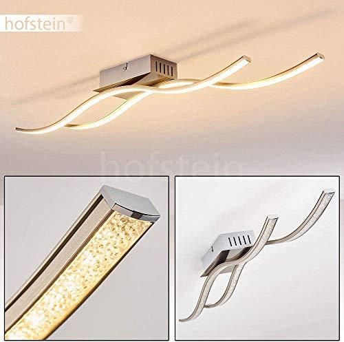 Plafoniera LED Kalandi in metallo di colore nichel opaco - Lampada da soffitto con luce calda 3000 Kelvin - Lustro design con effetto cristallo sui paralumi - 1400 Lumen