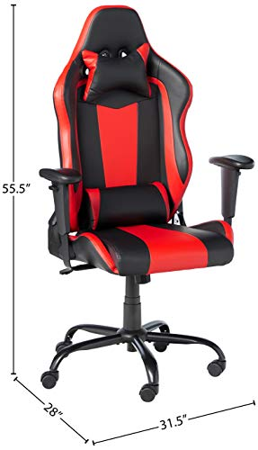 PC Gaming Chair Big and Tall Office Chair 400lbs Wide Seat Racing Computer Chair Executive Task Rolling Swivel Adjustable Ergonomic Desk Chair with Lumbar Support Headrest Armrest for Adults,Red
