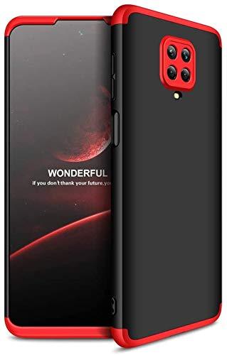 """Capa Capinha Anti Impacto 360 Para Xiaomi Redmi Note 9s e 9 Pro com Tela de 6.67"""" Polegadas Case Acrílica Fosca Acabamento Slim Macio - Danet (Preto com Vermelho)"""