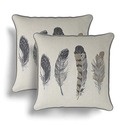IT IDEAL TEXTILES Set of 2 Grey Feathers Cushion Covers, Pair of Feather Print Design Cotton Cushion Covers, Piped Trim Cushion Cases, Sofa Chair Throw Pillow Cases, 17' x 17', 43cm x 43cm