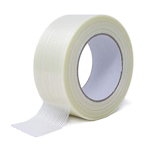 gws Filament-Klebeband | extra starkes Packband in Profi-Qualität | Gewebeband in Längsrichtung glasfaserverstärkt | Dicke: 120 μm | Länge: 50m (1, 50 mm x 50 m | längsverstärkt)