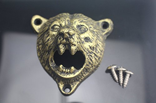 Sea Star Bear Teeth Bite Bottle Opener,cast Iron Wall Mount Grizzly with 3 Screws (Gold Opener)