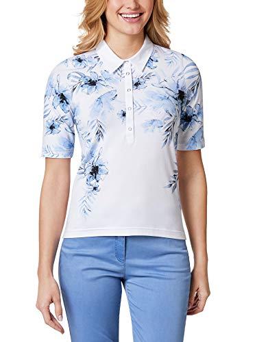 Walbusch Damen Poloshirt Hibiskusblüte Gemustert Blau 48