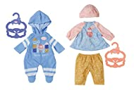 BABY ANNABELL OUTFITS - Keep your dolls cosy and casual, while they play. Two assorted designs; one blue romper or a little pink and blue dress, with leggings and hat; Both outfits come with a matching hanger FOR SMALL HANDS - Made in an easy fit sty...